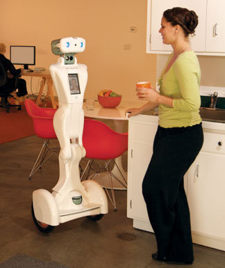 Telepresence robot in conversation